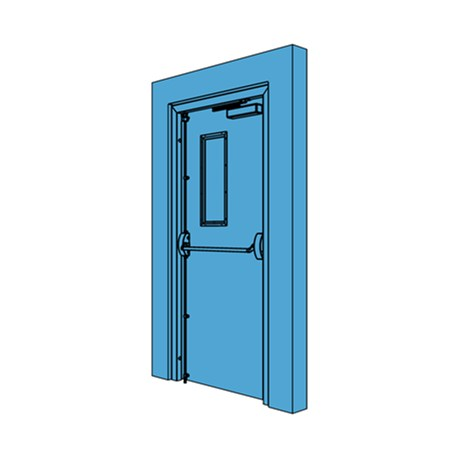 Single metal fire exit door with vision panel nbs for Door vision panel