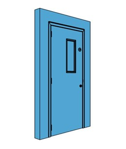Single Metal Plant Room Door with Vision Panel