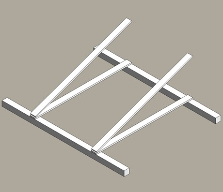 Free standing mounting frame for solar modules
