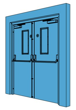 Double Metal Fire Exit Door with Vision Panel