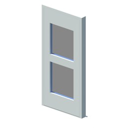 External single leaf door with vision panel style 02