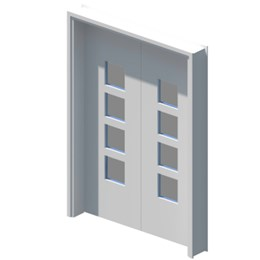 Internal equal double leaf door with vision panel style 04