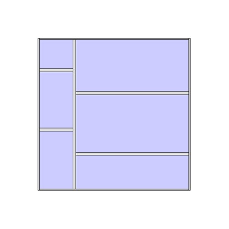 Unitized curtain walling system with 6 panels (2x3)