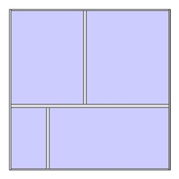 Unitized curtain walling system with 4 panels (2x2 arrangement 2)