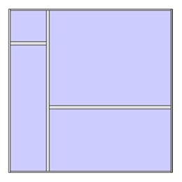 Unitized curtain walling system with 4 panels (2x2 arrangement 1)