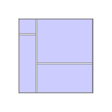 Unitized curtain walling system with 4 panels (2x2 arrangement 1)