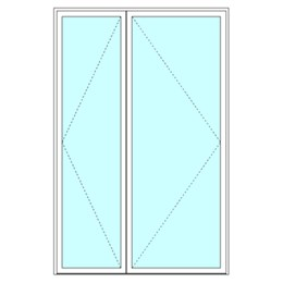 Unequal double leaf door