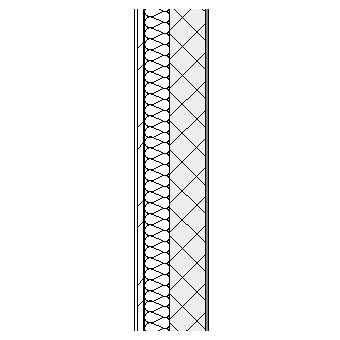 Ceramic panel with metal frame, weather barrier, insulation, concrete block and plaster lining