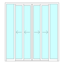 Double sliding telescopic door