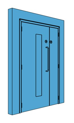 Unequal Metal Corridor/Lobby Door with Vision Panel