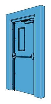 Single Metal Fire Exit Door with Vision Panel