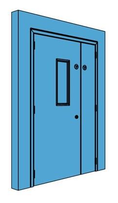 Unequal Metal Plant Room Door with Vision Panel