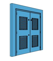 Double Metal Plant Room Door with Louvre