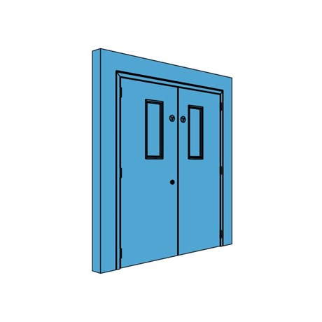 Double Metal Plant Room Door with Vision Panel