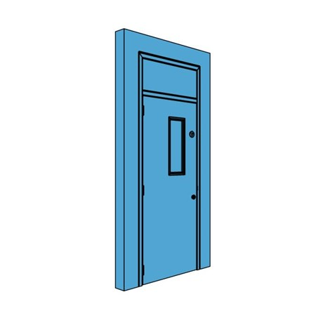 Single Metal Plant Room Door with Overhead Panel and Vision Panel