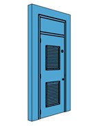 Single Metal Plant Room Door with Overhead Panel and Louvre