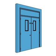 Double Metal Plant Room Door with Overhead Panel and Vision Panel