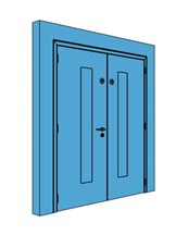 Double Metal Double Action Swing Door with Vision Panel
