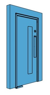 Single Metal Double Action Swing Door with Vision Panel