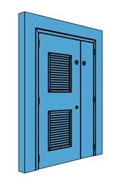 Unequal Metal Plant Room Door with Louvre