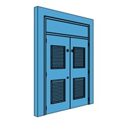 Double Metal Plant Room Door with Overhead Panel and Double Louvre