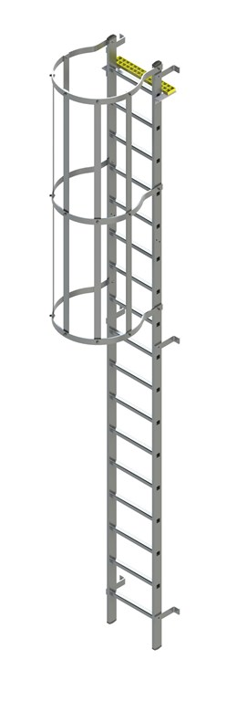 Bilco Ladders BL-S-WH -Fixed vertical ladder with safety cage