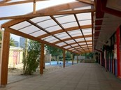 Tarnhow Curved Wall Mounted Timber Canopy - Tensile Fabric Roof