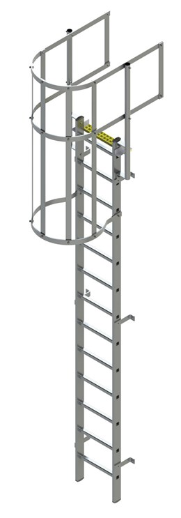 Bilco Ladders BL-A-WG - Fixed Vertical Ladder with safety cage and guardrail