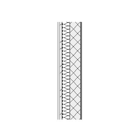 Aluminium cassette panels with metal frame, weather barrier, insulation, concrete block and plasterboard lining