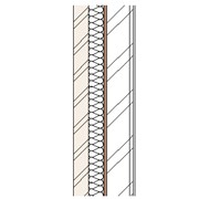 Brick cavity wall with steel frame, full fill insulation, particleboard and plasterboard lining