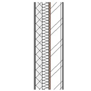 Cement rendered concrete block cavity wall with steel frame and partial fill insulation