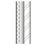 Cement rendered concrete block cavity wall with steel frame, particleboard, insulation and plasterboard lining
