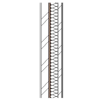 Ceramic panel with metal frame ,weather barrier, particleboard insulation, steel frame and plasterboard lining