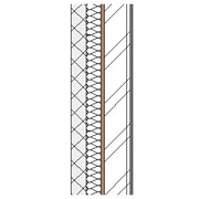 Concrete block cavity wall with steel frame, full fill insulation, particleboard and plasterboard lining