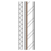 Concrete block cavity wall with steel frame, partial fill insulation and plasterboard lining