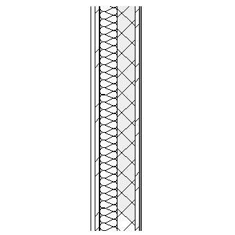 Concrete panel with metal frame weather barrier, insulation and concrete block lineded with plasterboard on metal furrings