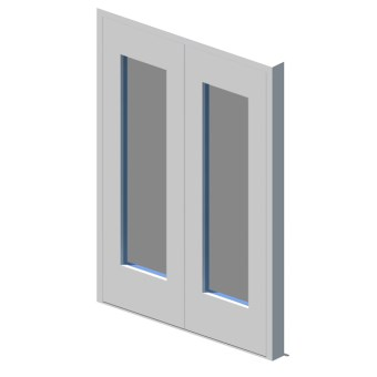 External equal double leaf door with vision panel style 01