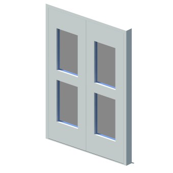 External equal double leaf door with vision panel style 02