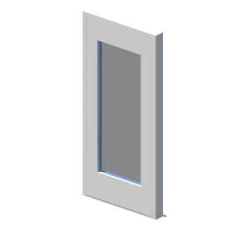 External single leaf door with vision panel style 01
