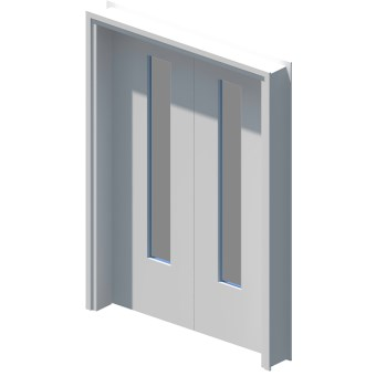 Internal equal double leaf door with vision panel style 01