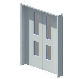 Internal equal double leaf door with vision panel style 02