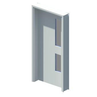 Internal single leaf door with vision panel style 02