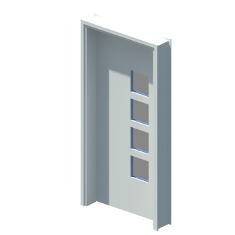 Internal single leaf door with vision panel style 04