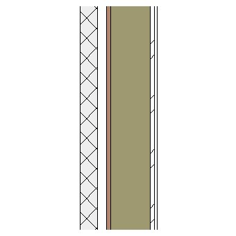 Concrete block cavity wall with wood frame, particleboard, insulation and plasterboard lining on metal furrings