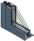 TS66 Rebate Door System Standard Double Door with Midrail and Top Window