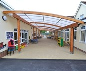 Tarnhow Curved Free Standing Timber Canopy -Tensile Fabric Roof