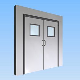 CS Acrovyn® Impact Resistant Doorset - Double leaf with type VP8 Vision Panel