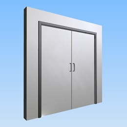 CS Acrovyn® Impact Resistant Doorset - Double leaf without vision panel