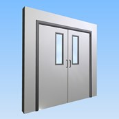 CS Acrovyn® Impact Resistant Doorset - Double with type VP3 Vision Panels