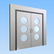 CS Acrovyn® Impact Resistant Doorset - Double with type VP7 Vision Panels